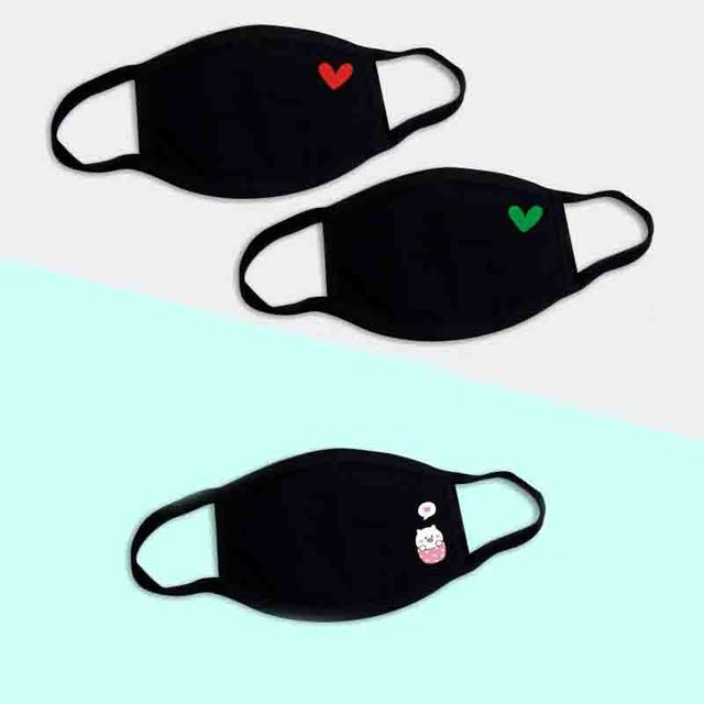 3pc Black Breathable Cotton Dustproof Mouth Face Mask Anime Cartoon Kpop Lucky Bear Cat Heart Women Men Muffle Face Mouth Masks 1