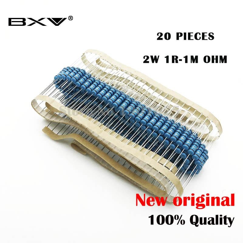 20pcs 2W film Metallico resistore di resistenza 1% 1R 2.2M 4.7R 10R 22R 47R 100R 220R 560R 1K 10K 100K 2.2 10 22 47 100 220 470 1M ohm