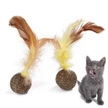 Натуральная кошачья мята игрушки для кошек мята кошка перо мяч для игры игрушка кошка мяч для точки когтей движение активированный зубы Чистка шлифовка