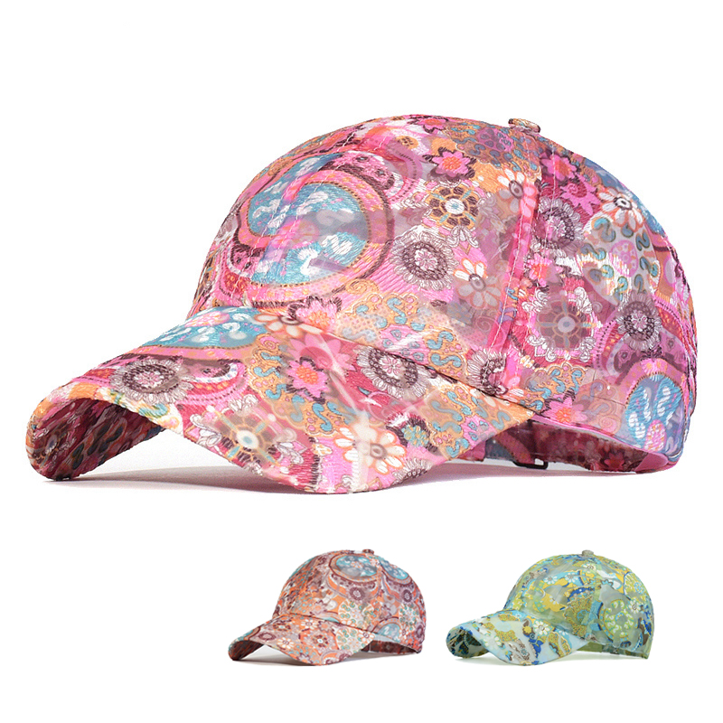 Spring Mesh Baseball Cap Women Floral Breathable Summer Sun Hat Embroidered Outdoor Sport Cap Quick-drying Climbing Hat