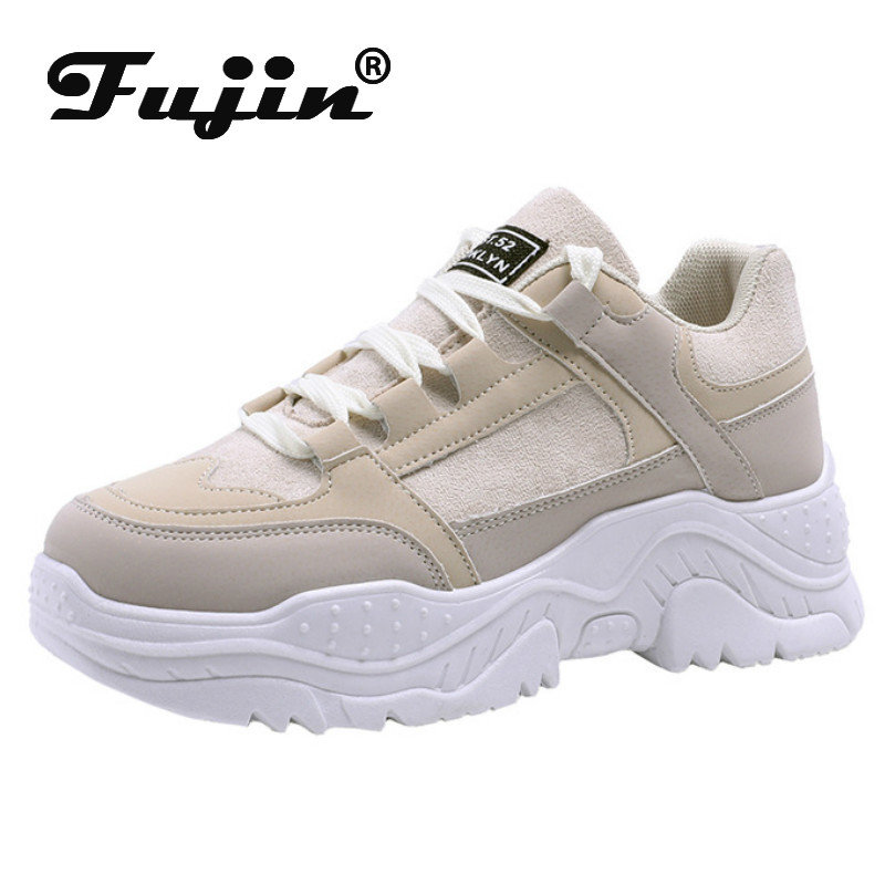 Fujin Platform Sneakers Chunky Spring  Summer Casual Shoes Vulcanized Sneakers For Women Female Lace Up Spring Women's Shoes