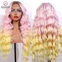EEWIGS-peluca ombré de 3 Tono de Color para mujer peluca sintética con malla frontal, División media, ondas sueltas, resistente al calor, Cosplay, Color negro