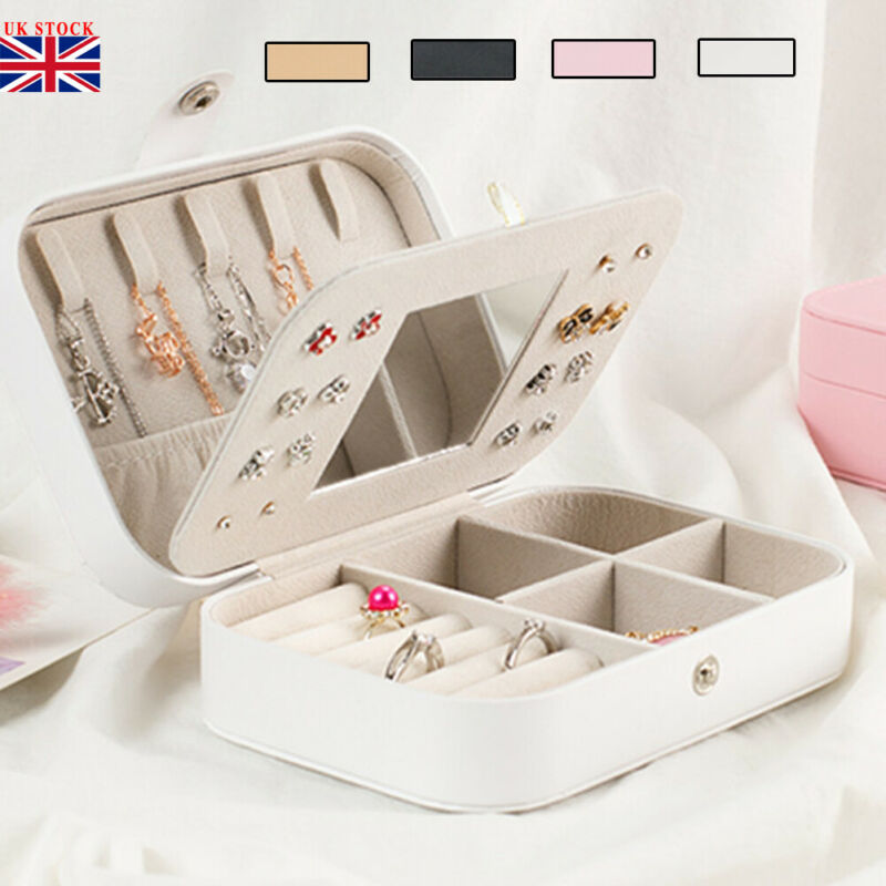 Ring Necklace Bracelet Jewellery Display Box Storage Vintage Double-deck Case Organiser Travel Leather Case Storage With Mirror