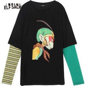Image 5 - ELFSACK Cotton Cartoon Print Striped T shirts Women 2019 Autumn Fashion Oversize Casual Fake two piece Tee Korean Punk T shirt