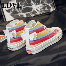 Rainbow High Help Canvas Shoe Woman 2019 Autumn Student Flats Shoes Womens Leisure Time Skate sneakers