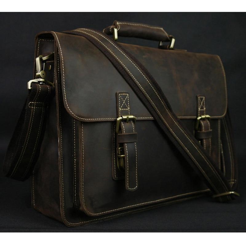 Vintage Crazy Horse Leather Men Briefcase Laptop Bag Work Business Bag Genuine Leather Briefcase Men Shoulder Bag Crossbody bag 1