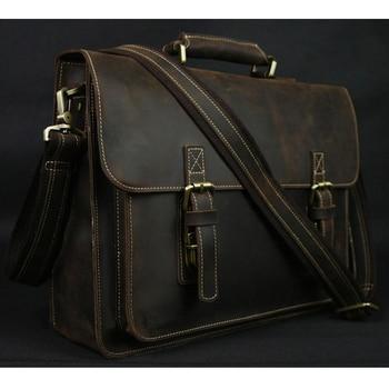 Vintage Crazy Horse Leather Men Briefcase Laptop Bag Work Business Genuine Shoulder Crossbody bag - discount item  43% OFF Briefcases