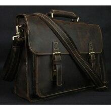 Vintage çılgın at deri erkek evrak çantası Laptop çantası iş iş çantası hakiki deri evrak çantası erkek omuz çantası Crossbody çanta