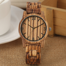 Classic Brown Wooden Quartz Analog Watch Round Dial Arabic Numerals Wooden Watches Wooden Strap Unisex цены