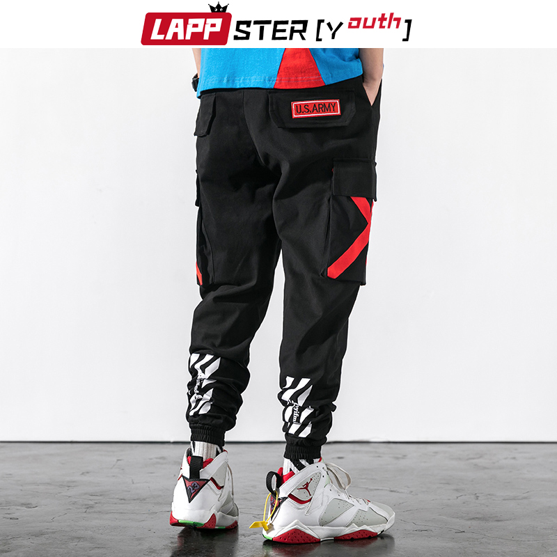 LAPPSTER-Youth Japanese Streetwear Cargo Pants Men 2019 Mens Hip Hop Joggers Pants Cross Sweat Pants Camouflage Jogger Pants