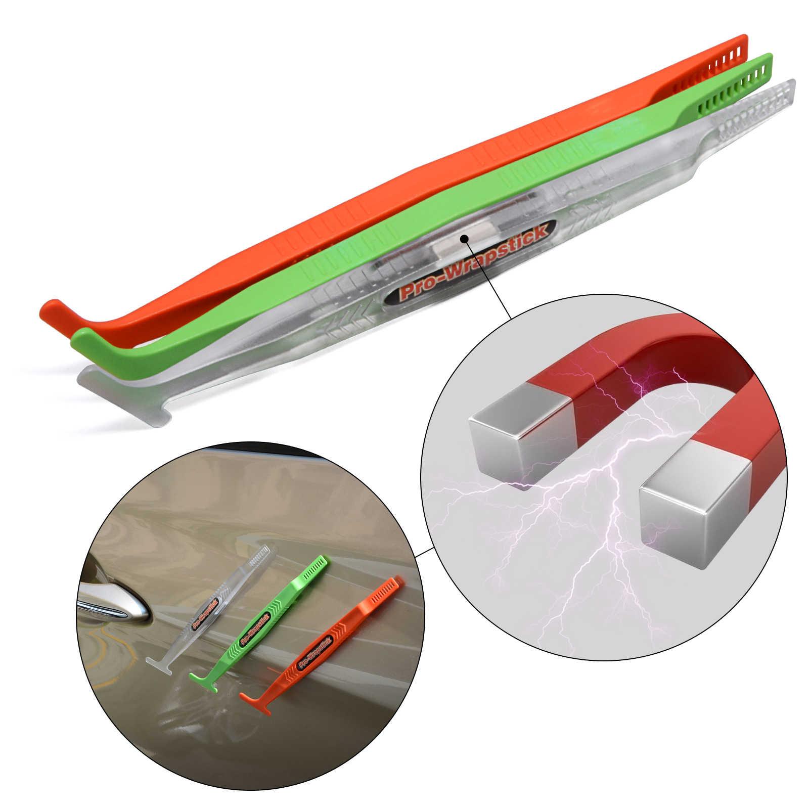 FOSHIO 3 adet manyetik Pro vinil şal sopa silecek kazıyıcı kiti karbon Fiber Sticker araba sarma folyo mikro mıknatıs tonu aracı