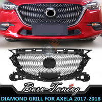 Good Fitment ABS Diamond Style Grill For Mazda 3 Axela Grill 2017 2018 Exterior Car Styiling Front Bumper Hood Racing Grille
