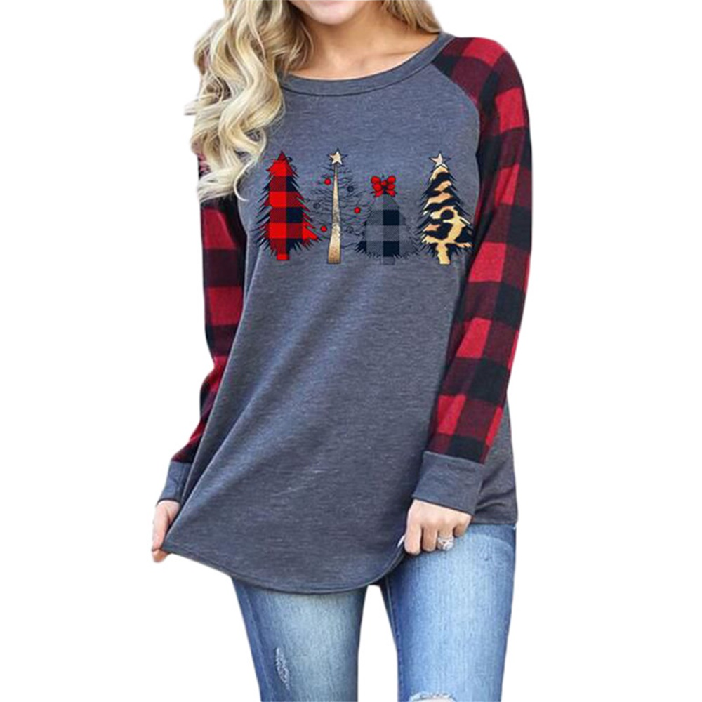 Повседневная футболка с длинными рукавами принтом рождественской