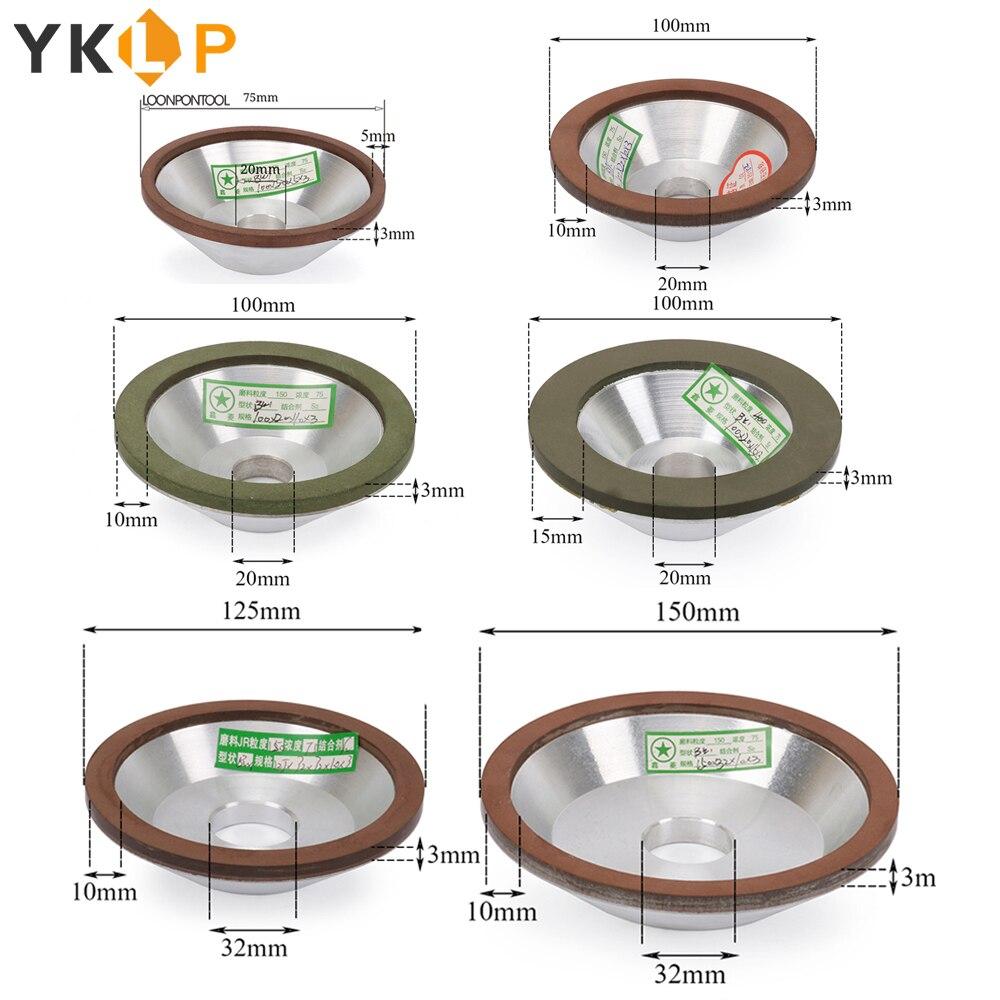 75/100/125/150mm disque de meulage de tasse de meule de diamant pour l'affûteuse de coupeur de carbure 1Pc 120/150/180/240/320/400 #