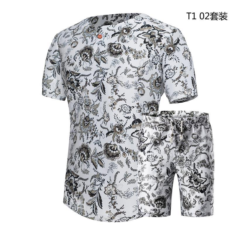 2019 Summer Hot Selling Hot Selling Men Slim Fit Floral-Print Korean-style T-shirt Suit T-shirt Shorts Two-Piece Set A Large Amo