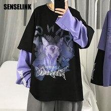 2021 Men T-shirt Spring Autumn High Street Fashion Long-sleeve Fake Two-piece T-shirt Korean Hip Hop Loose Trendy Men Clothing