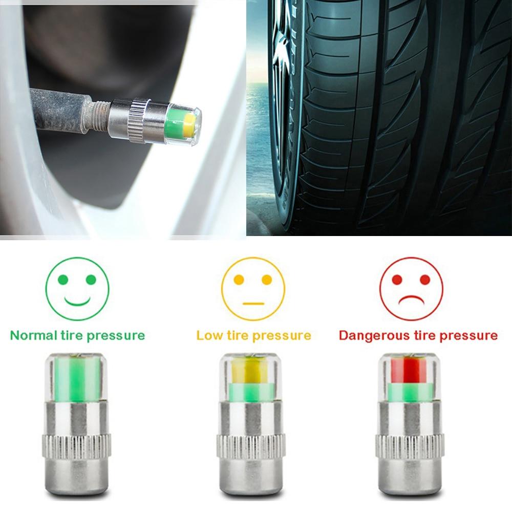 4PCS Car Auto Tire Pressure Monitor Gage Alert Sensor Indicator Valve Caps Wheel