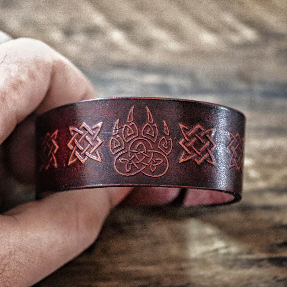 Knotwork Bear Claw Leather Cuff