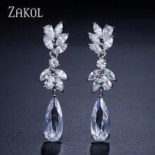 ZAKOL – boucles d'oreilles en Zircon blanc en forme de fleur autrichien, pendentif en cristal goutte d'eau pour mariée, bijoux de mariage FSEP050