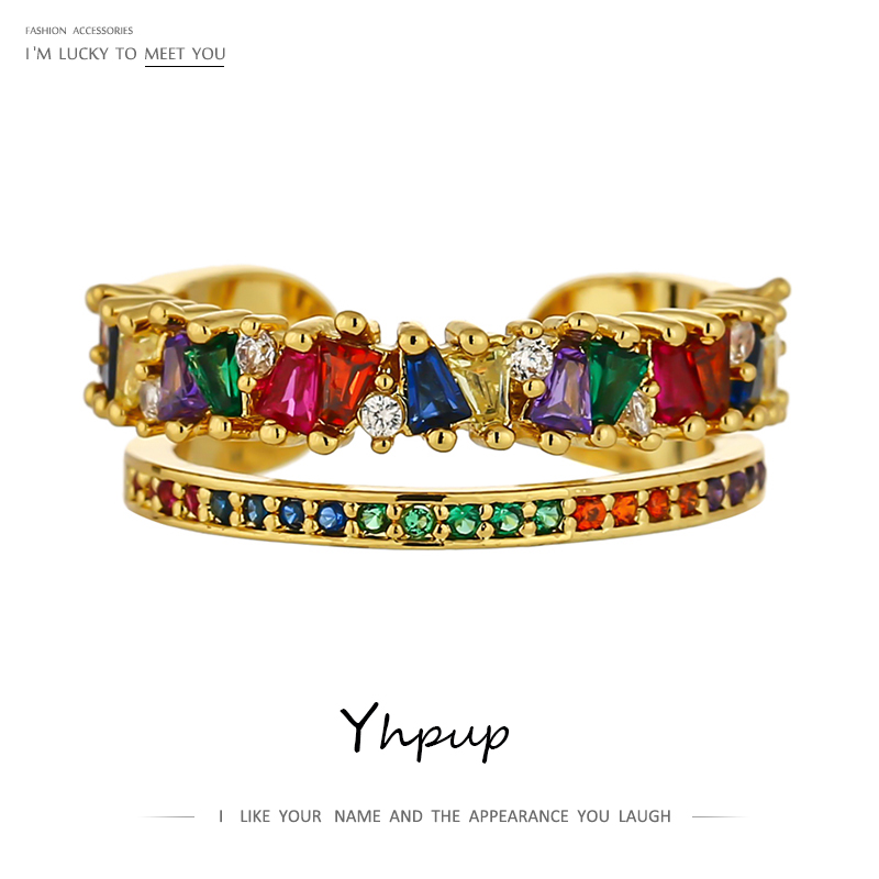 Yhpup 2021 Classic Crown Rainbow Charm Open Ring Colorful Zirconia Copper Gold Women Ring for Female Party Wedding Jewelry