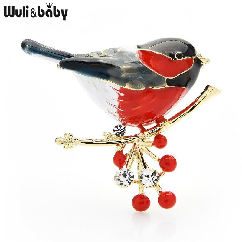 Wuli&baby 2021 Multicolor Bird Brooch Pins Quality Enamel Ainmal Brooches New Year Designer Jewelry Gift Pyrrhula pyrrhula
