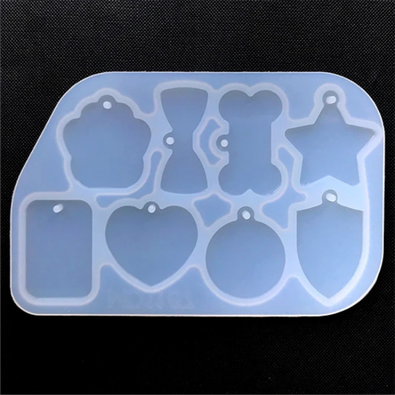 Assorted Tag Silicone Mold Star Heart Round Bow Bone Rectangle Paw Charm Mold Resin Pendant Making Pet Tags Silicone Mold