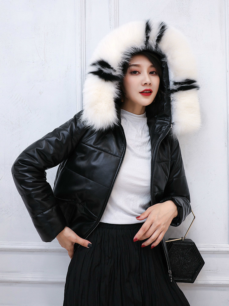100% Real Sheepskin Coat Female Winter Natural Fox Fur Hooded Duck Down Jacket Women Genuine Leather Down Coat Hiver 1921