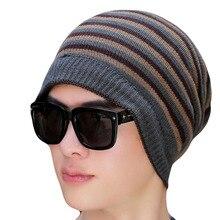 все цены на Men's Skullies Beanie Hat Winter Beanie Knitted Hat Positive And Negative + Scarf Stripe Skis Sports Beanies Hats For Men онлайн