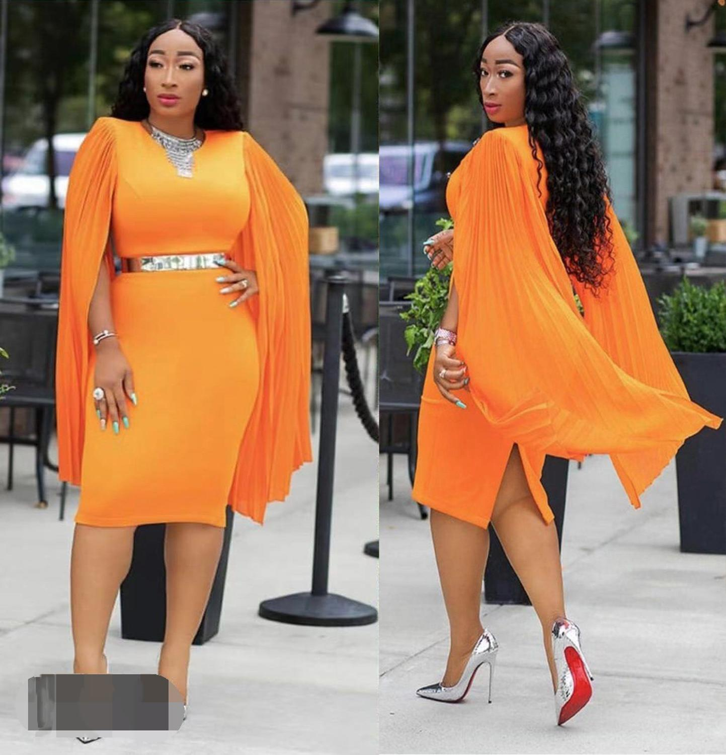 New Style African Clothing Dashiki Fashion Stretch Pure Color Polyester Material Cape Slim Dress   Size L XL XXL XXXL