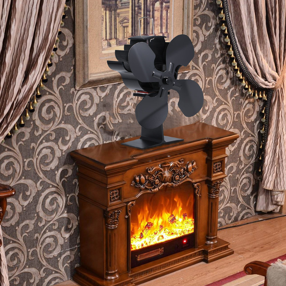 4 Blades Heat Powered Fireplace Fan Log Burner Eco-Friendly Self-powered Efficient Heat Distribution Fireplace Fans Aluminum