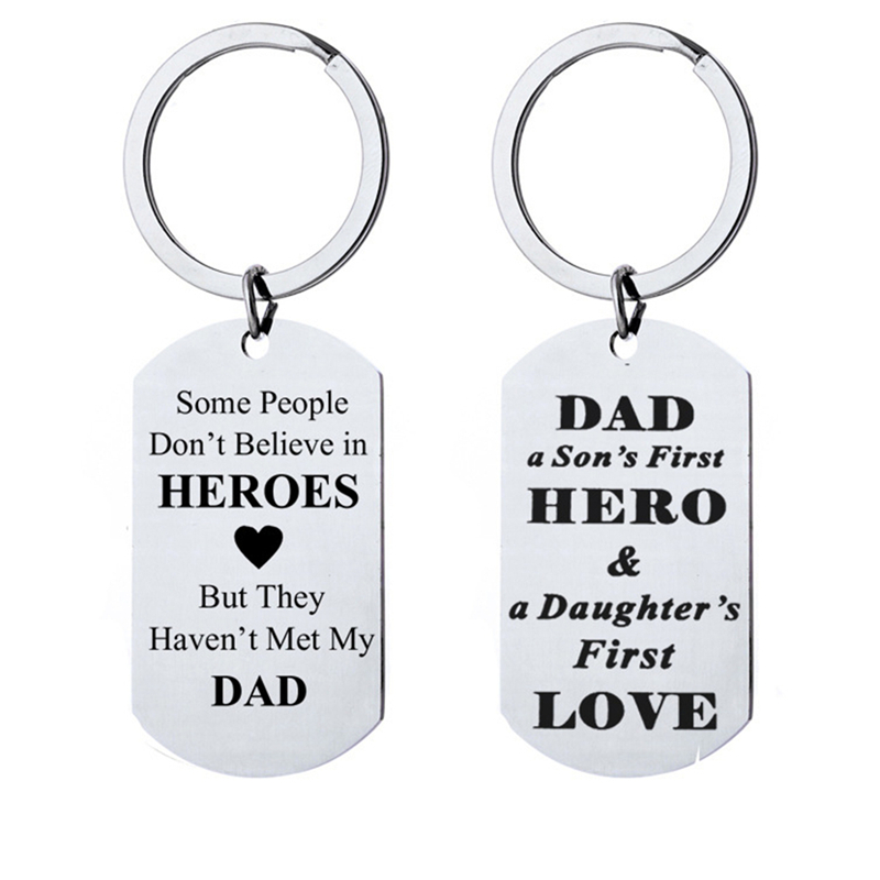Stainless Steel Keychain Lettering Military Dads Sons First Hero Fathers Day Creative Cute Gift