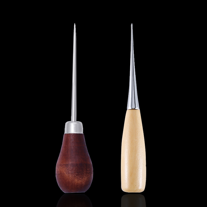MIUSIE Skc Wooden Handle Awl Manual Knitting Tool Straight Cone Curved Cone Needle Thousand Through Drill Tools Leather Craft