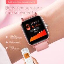T98 Smartwatch قياس درجة حرارة الجسم مراقب معدل ضربات القلب مقاوم للماء يمكن ارتداؤها جهاز بلوتوث ساعة ذكية لنظام أندرويد IOS