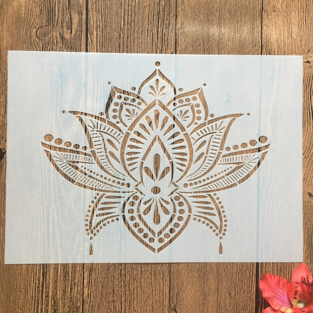 A4 29cm Lotus Flower DIY Layering Stencils Wall Painting Scrapbook Coloring Embossing Album Decorative Paper Card Template