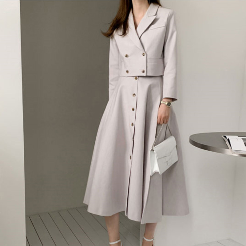 LANMREM Long-sleeved Double-breasted Short Ladies Office Blazer High Waist Skirt Suit Simple Fashion 2020 Spring New TV480