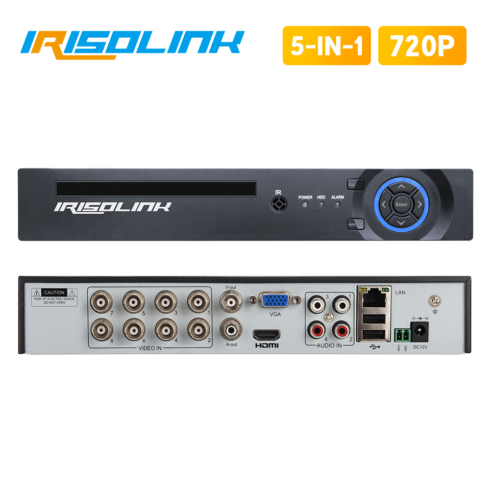 Irisolink 1080N 8CH AHD DVR 5 In 1 HYBRID H.265 Security Recorder For 720P AHD TVI CVI Analog IP Camera Motion Detection