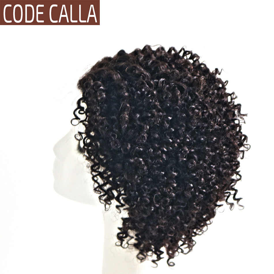 Afro Kinky Curly Human Hair Wigs 4*4 Lace Closure Wig for Women Brazilian Curly Front Lace Wig Code Calla Short Curly Bob Wigs