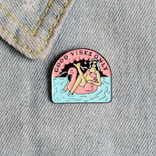 Cartoon Summer Pool Enamel Pins Fashion Good Vibes Only Brooches Bag Clothes Sun