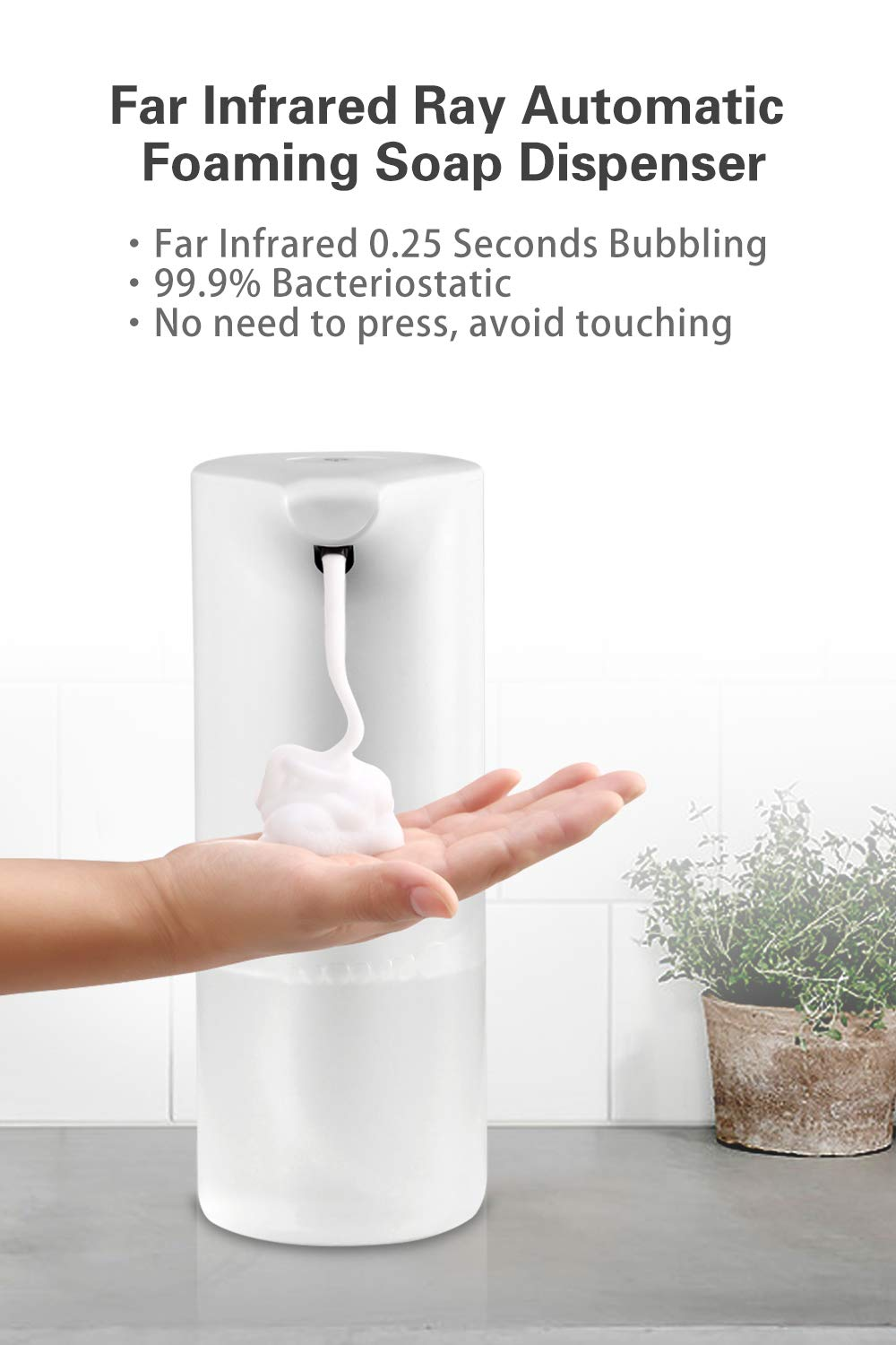 Hfb6d18db89344e129c6df921fb6ad23f1 - 350ml Bathroom Automatic Soap Dispenser USB Charging Infrared Induction Foam Kitchen Hand Sanitizer Touch Bathroom Accessories