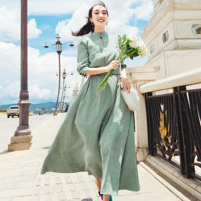 2020 jesień w stylu Vintage kobiety długa sukienka sztruks staranne duże wahadło suknie zielony 1310 DG345