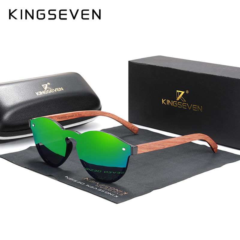 Custom LOGO Natural Wooden Sunglasses KINGSEVEN Bubinga Men's Polarized Glasses Wooden Fashion Sun Glasses Original Accessories 7