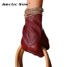 L090NN dark red women sheepskin gloves fashion winter genuine leather for warm wrist