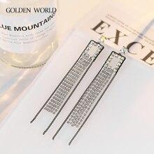 temperament metal tassel earrings Joker European and American womens king fan geometric long aretes de mujer modernos