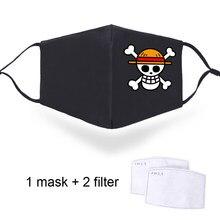 Anime uma peça à prova de poeira máscara facial homem boca muffle com pm2.5 filtros respirador harajuku máscaras