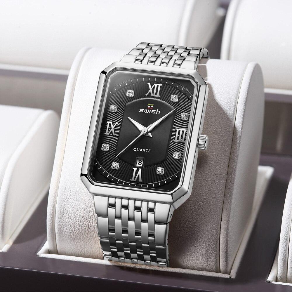 Relogio Masculino Black Steel Bracelet Watches Men Top Brand Luxury Man's Business Quartz Wrist Watch Original Rectangle Clock