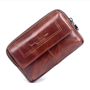 Image 3 - New Men Leather Cowhide Vintage Travel Cell Mobile Phone Case Cover Belt Pouch Purse Fanny Pack Waist Bag