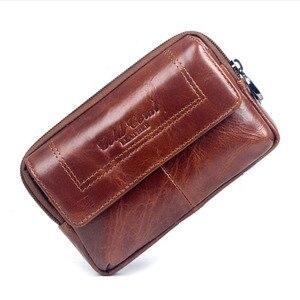 Image 3 - Nowi mężczyzna skóra bydlęca rocznik podróży telefonu komórkowego etui na telefon torba na pas kiesa piterek talii torba