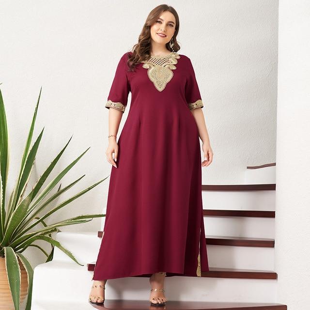 Women's Plus Size Dress Vintage Lace Patchwork Split Hem Solid Half Sleeve Maxi Party Prom Long Maxi Red Suelto Dresses 3