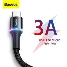 Baseus micro cabo usb 3a carregador de carregamento rápido cabo microusb para samsung xiaomi redmi 4 nota 5 pro cabos do telefone móvel android