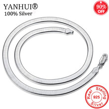 YANHUI Wholesale Real 925 Solid Silver 4MM Flat Snake Chain Necklace Fashion Jewelry For Men and Women Length 45/50CM XL003(China)